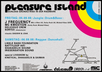 Flyer - Pleasure Island ls. Kinetical , Shakadelix & Saiman - 2008 - Back